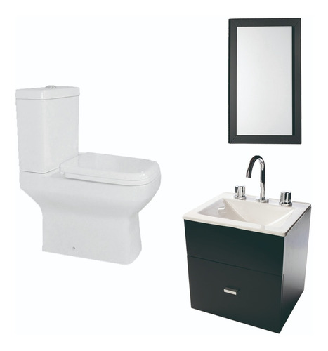 combo simple para baño inodoro vanitory 40cm espejo