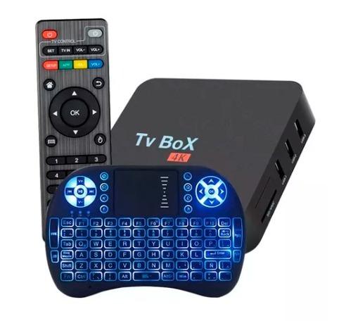 combo smart tv box 4k android 7.1.2 + teclado touch con luz!