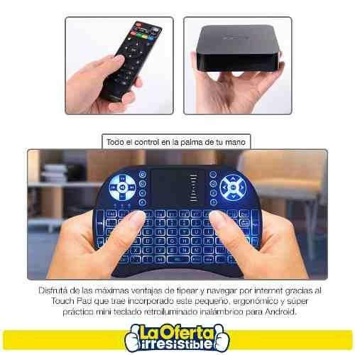 combo smart tv box mxq 4k 7.1+ teclado touchpad con luz loi