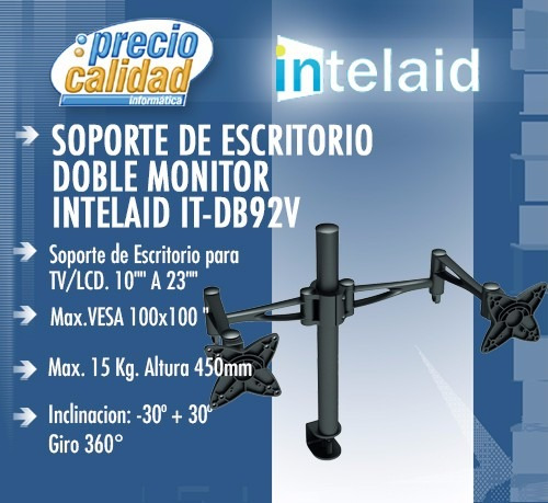 combo soporte led monitor doble tv it-db92v 2 it-dbgs