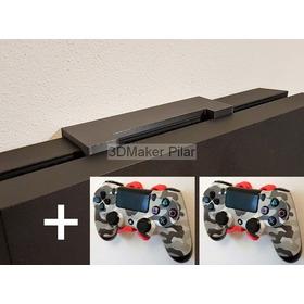 Combo Soporte Pared Consola Playstation Ps4 Slim Fat Bajo Perfil + 2 Sop Joystick Con Tornillos Y Tarugos - Exc Calidad!