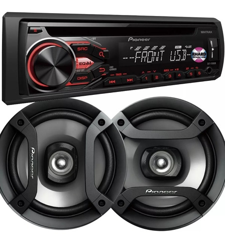 combo stereo pioneer 186/1950/1850 usb cd aux + 6 pulg nuevo