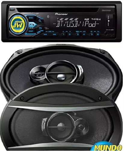 combo stereo pioneer bluetooth + parlantes pioneer 6x9  420w
