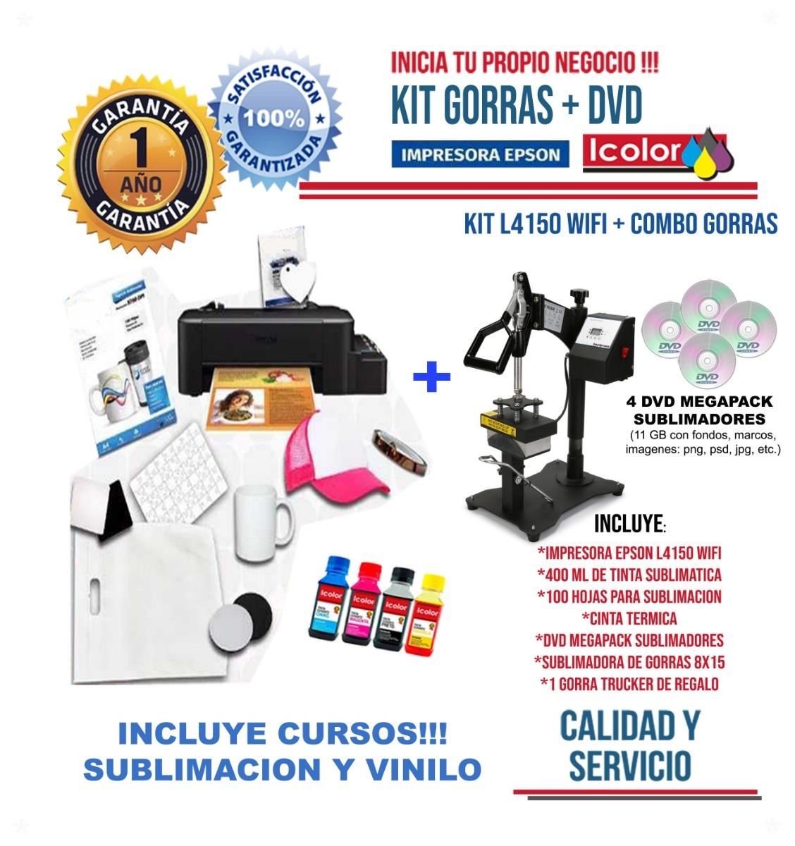 Combo Sublimación Impresora Epson L4150 + Estampadora Gorras ... 4387ba84cdb