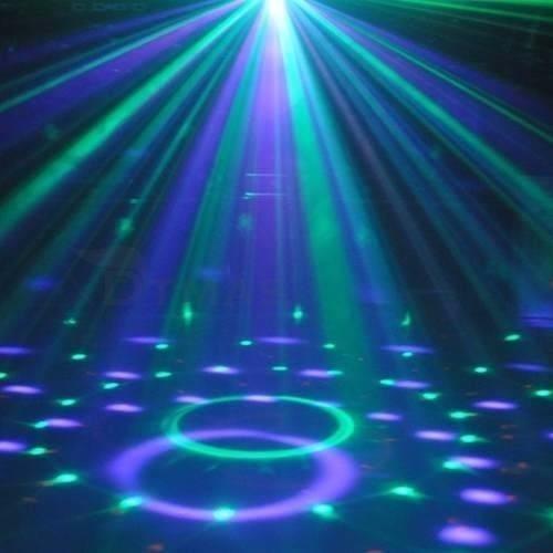 combo super luces dj bola led + laser lluvia + flash led 10w