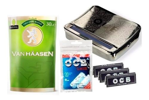 combo tabaco van haasen + maquina ocb + filtros + papeles