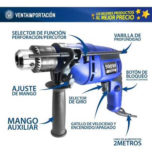 combo taladro atornillador 500 13mm + amoladora angular 500w