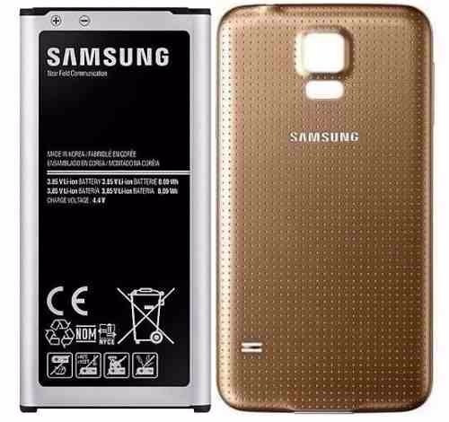 combo tapa trasera dorada + bateria original galaxy s5