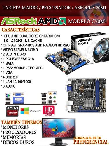 combo tarjeta madre asrock c70m1 + procesador c70 nuevo