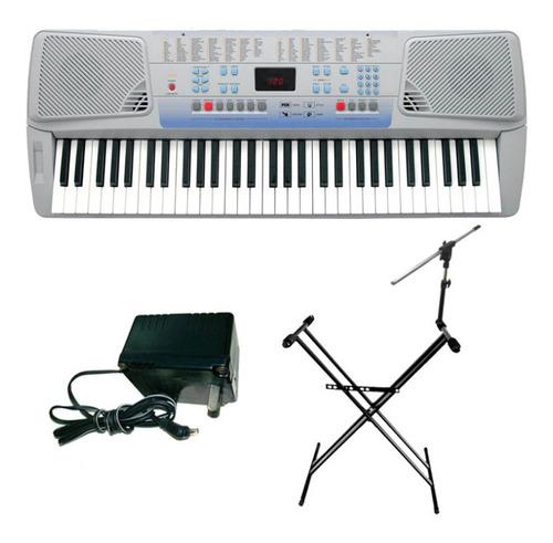 combo teclado ck62 + soporte microfono doble + fuente