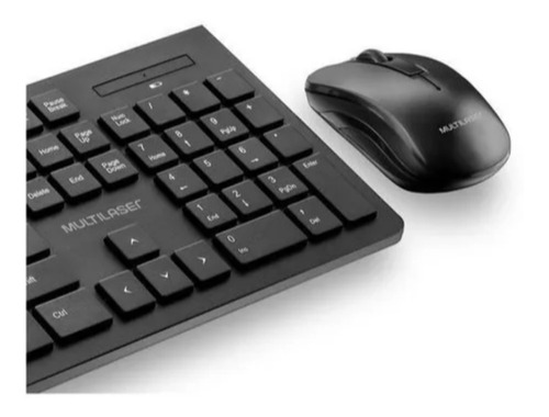 combo teclado e mouse wireless sem fio multilaser preto