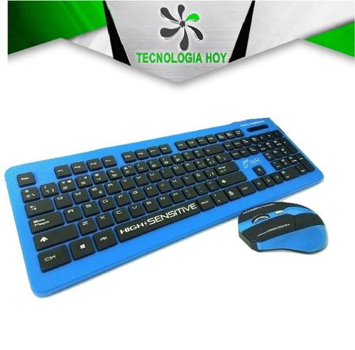 combo teclado mouse inalambrico j&r slim, azul
