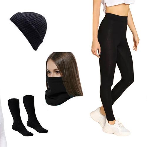 combo termico x4 medias pantalones cuello gorro invierno