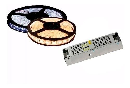 combo tira led 5050 5mts exterior + fuente 12v frio calido
