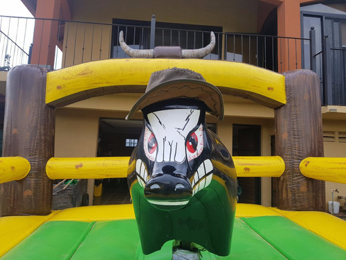 combo toro mecánico con inflable tobogan adultos y niños