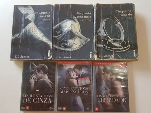combo - trilogia 50 tons de cinza ( livro + dvd's originais)