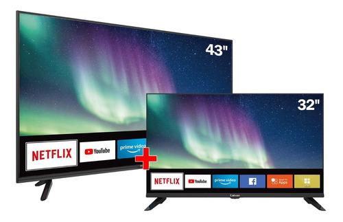 combo tv caixun smart tv 43  cs43f2 fhd + 32 cs32s1 hd