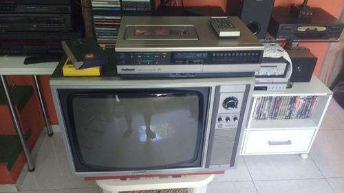 combo tv(tc-212s) + vcr (nv-1123pn) national. anos 80! raro!