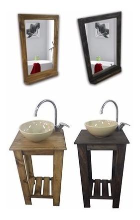 combo: vanitory 40cm bacha beige espejo repisa griferia baño