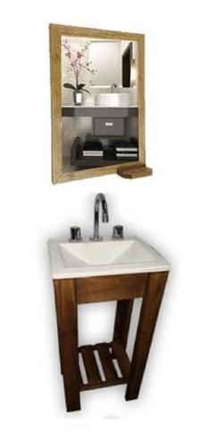 combo: vanitory 40cm bacha blanca con espejo y repisa baño
