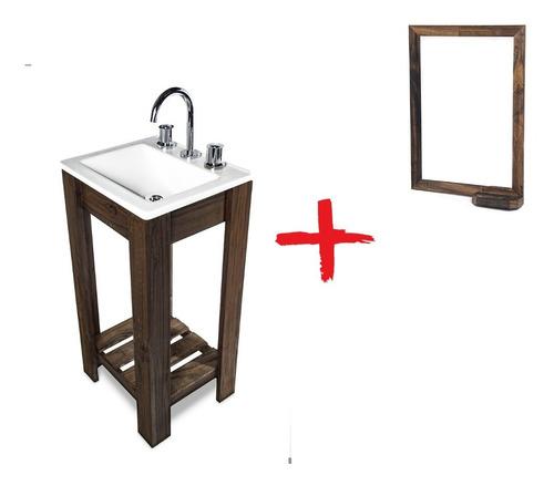 combo vanitory 40cm bacha espejo con repisa griferia baño