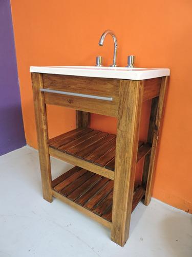 combo: vanitory 50cm madera maciza + bacha !! oferta !!