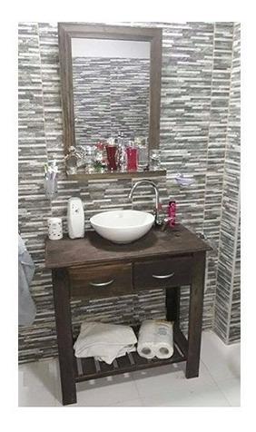 combo: vanitory 80cm bacha espejo con repisa y griferia baño
