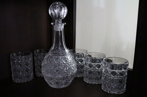 combo vasos licorera marca francesa francia cristal d´arques