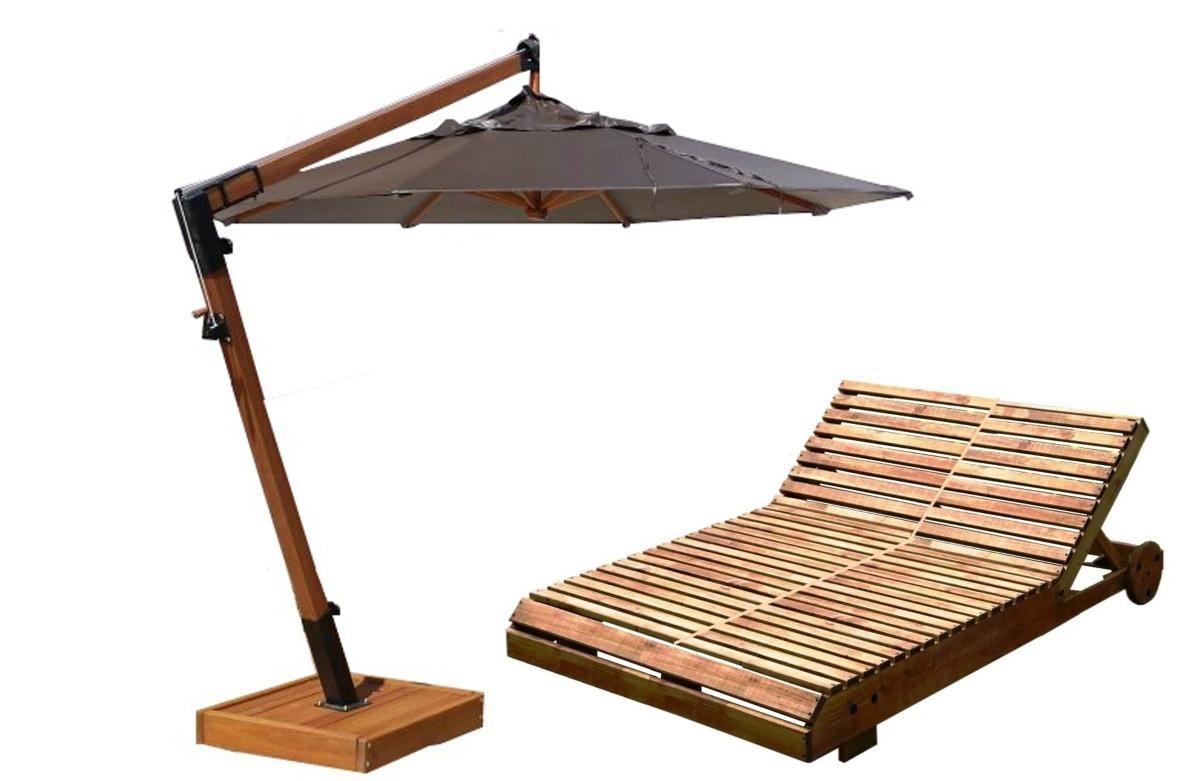 combo verão guarda-sol 2,40+ espreguiçadeira casal madeira. Carregando zoom. 6ec5580d04