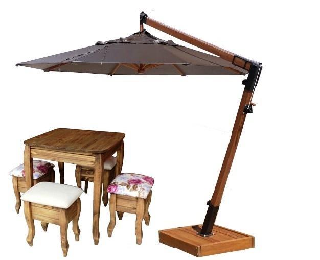Combo Verão Guarda-sol Ombrelone 2,10+mesa Madeira E4 Bancos - R ... b0cff3006d