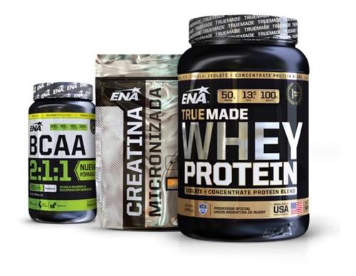 combo volumen - proteina + bcaa + creatina micro- ena sport