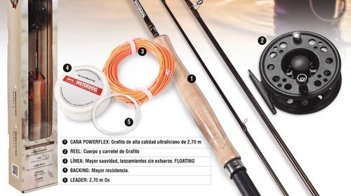 combo waterdog fly cast #5-6 caña + reel + accesorios mosca
