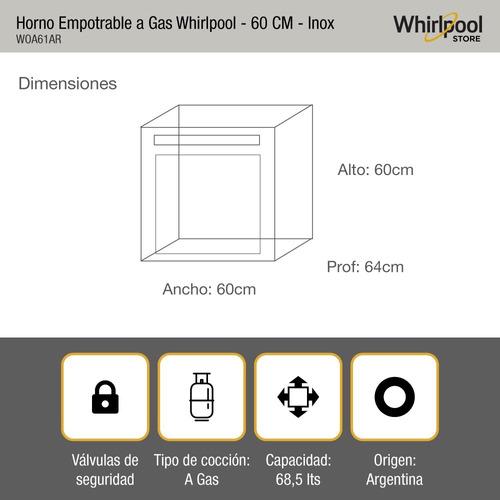 combo whirlpool a gas horno y anafe woa61ar+wdb61ar