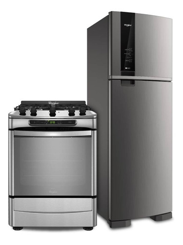 combo whirlpool heladera 426 lts y cocina a gas wrm54ak+wf56