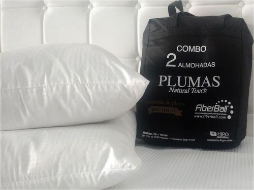 combo x2 almohadas plumas natural touch fiberball 50x70