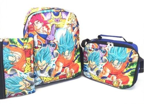 combo x3 maleta + cartuchera+ lonchera dragon ball super