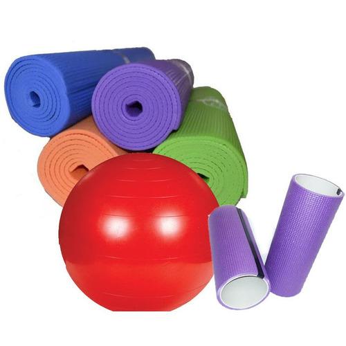 combo yoga: mat 6 mm+rolo 30 cm+pelota esferodinamia 95 cm