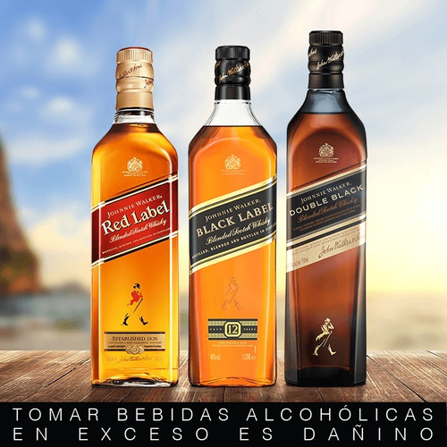 combo#1 whisky johnnie walker red +black +double black 750ml