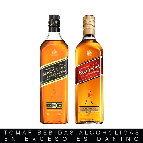 combo#2 whisky johnnie walker red 750ml + black label 750ml