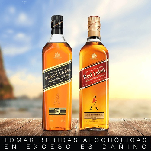 combo#2 whisky johnnie walker red 750ml + black label 750ml