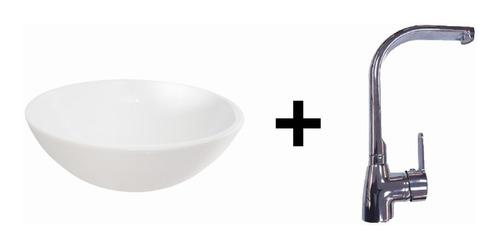 combo:bacha loza pili + griferia monocomando cisne plana