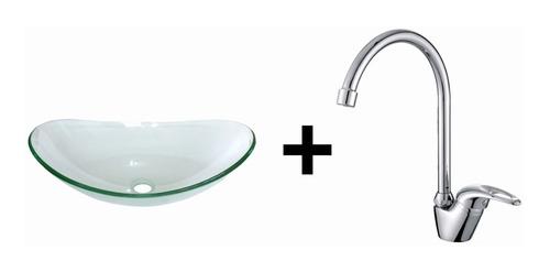 combo:bacha vidrio cuenca +griferia monocomando cisne tauro