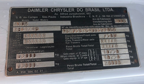 comboio de lubrificação - mb 6x4 2008 axor 2831 = 3133, 2629