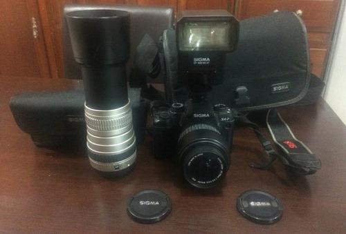 combo!sigma sa7/lente sigma 100-300mm/flash sigma ef-500dgst