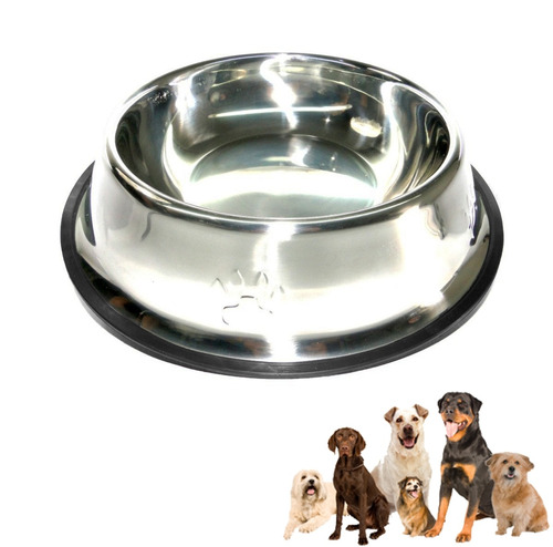 comedero brillante mascotas plato inoxidable mediano base ca