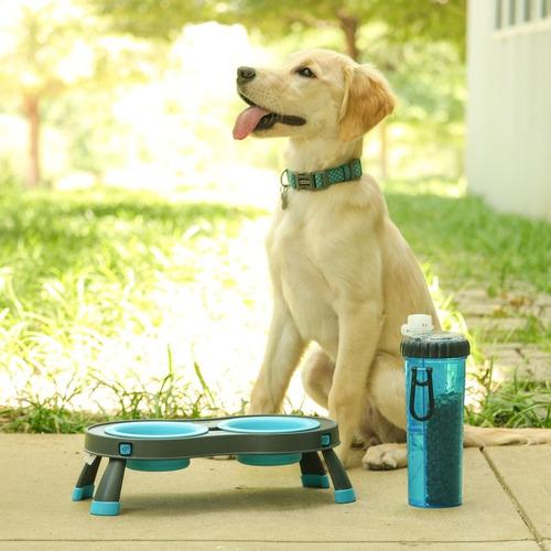 comedero elevado doble perros - pequeño - plegable