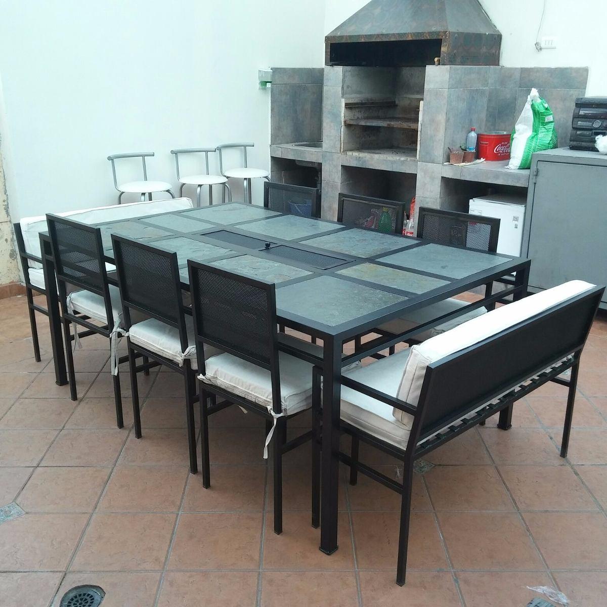 Comedor 10 personas fierro con brasero muebles y terrazas for Comedor 10 personas