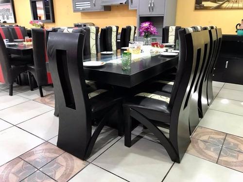 comedor 10 sillas decorado con piedra onix y led