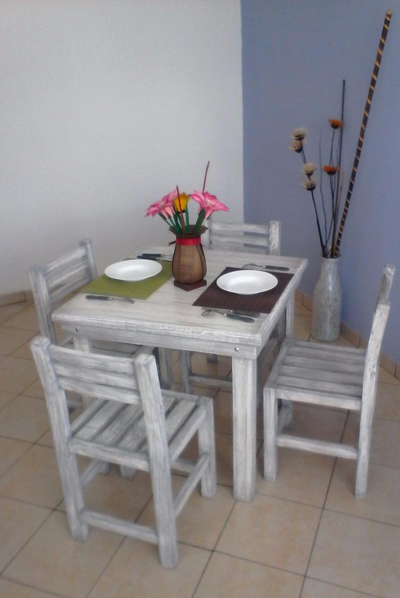 Comedor 4 Personas Madera Mesa Sillas Uso Rudo Moderno Vintage Minimalista  Restaurante Bar Cafetería Muebles Vanely