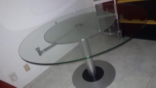 comedor 4 piezas, acero inoxidable y vidrio templado